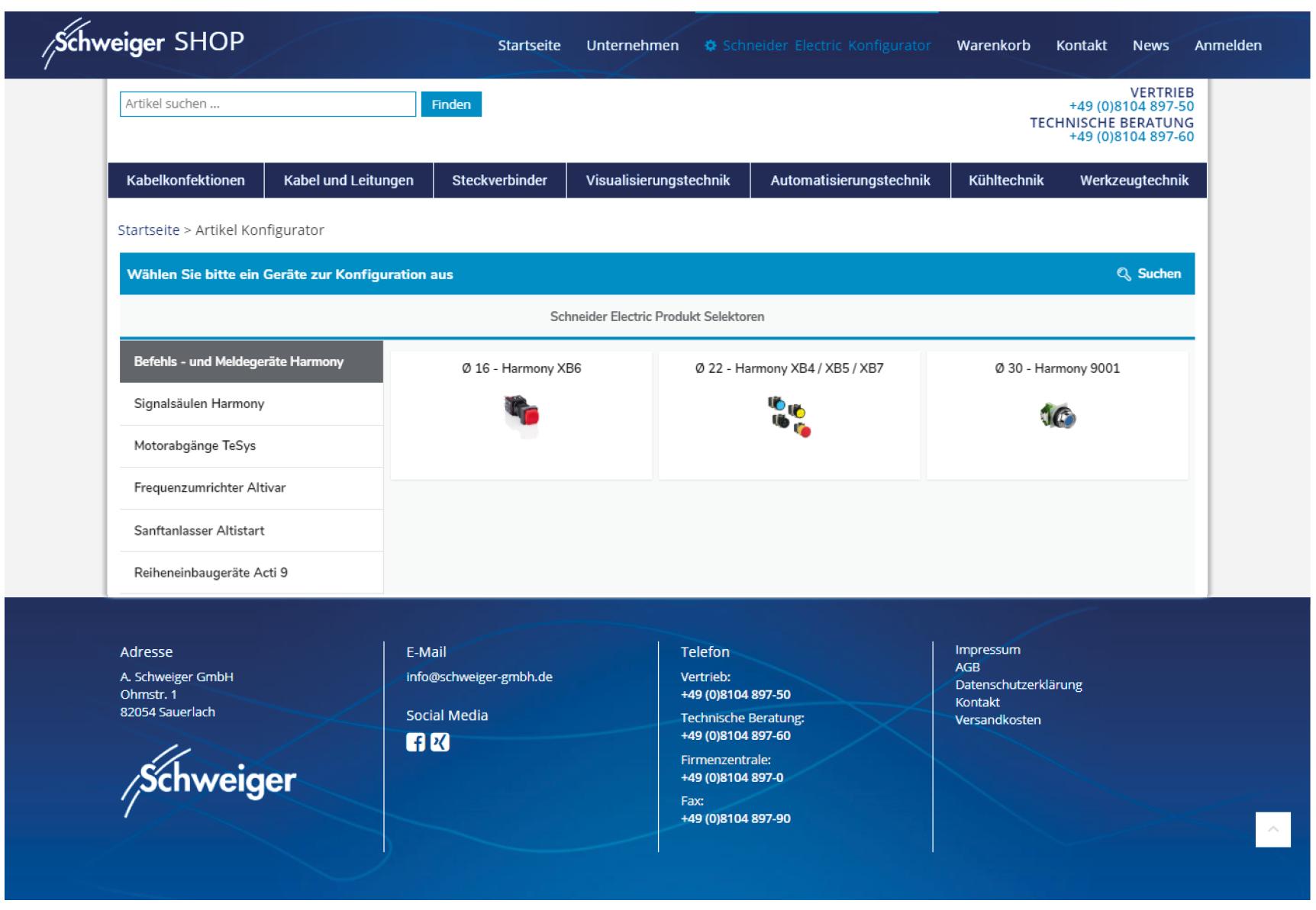 Schneider Electric Konfigurator Produktkategorie
